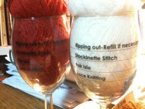 Knitter's wine glasses from Your Daily Fiber in Fort Collins, Colorado. 1