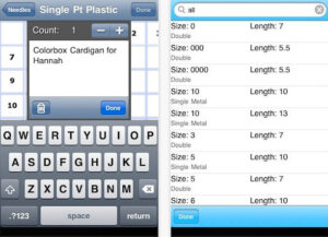 Knitting Needle App iPhone/iPad 2