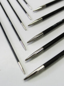 Carbon-fiber needles are newcomers to the knitting marketplace.
