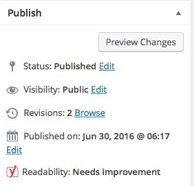 WordPress publish settings