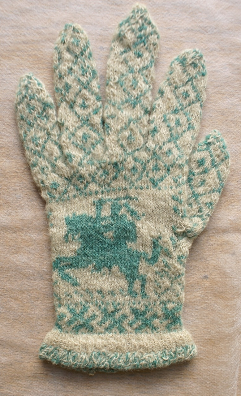Glove with Knight on Horse