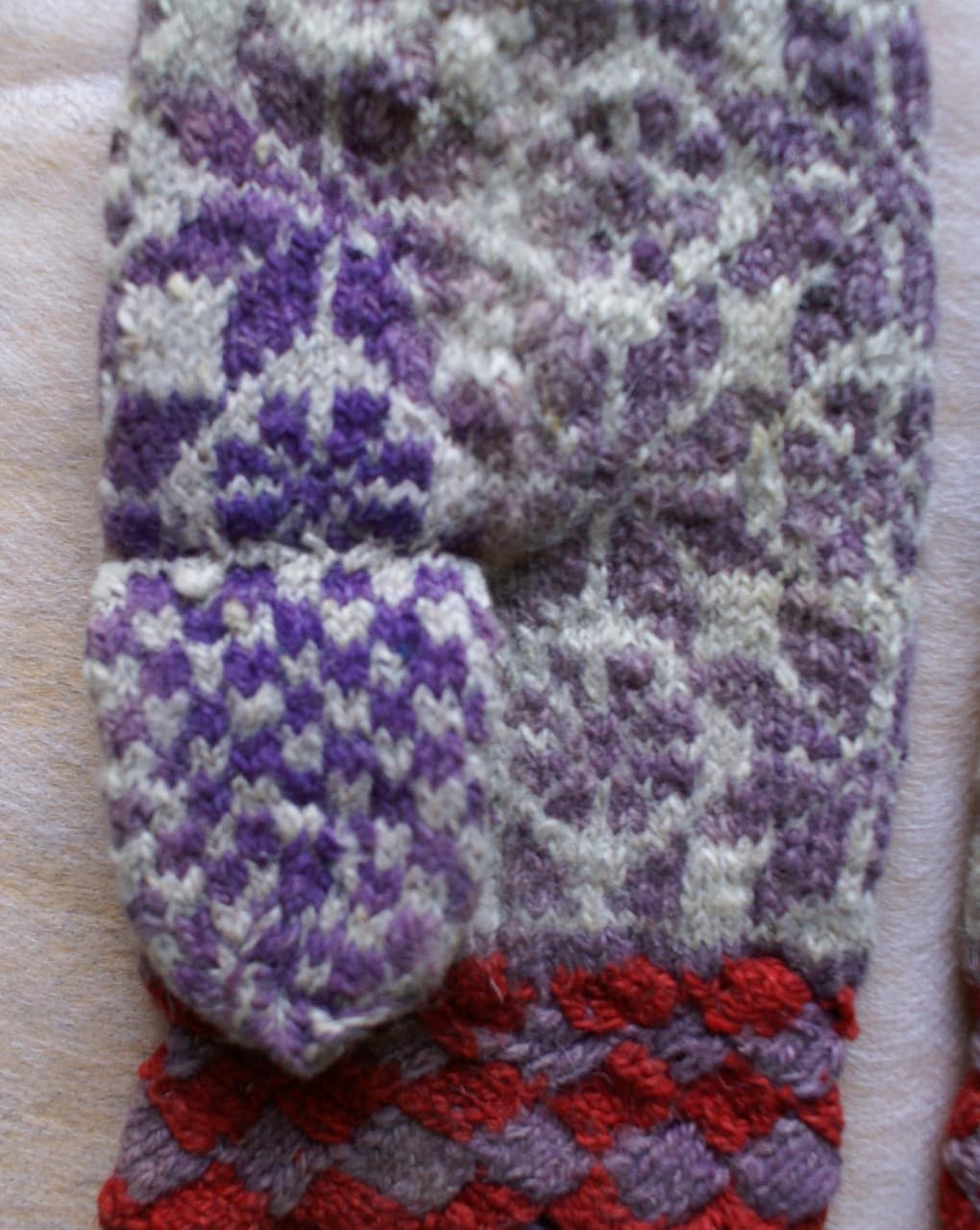 mitten with faded colors