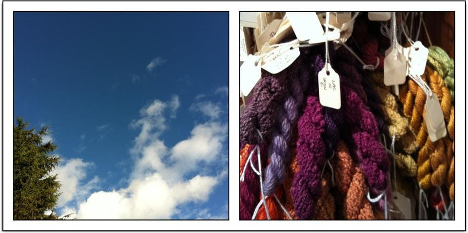 Blue skies and natural dyes in Vancouver, Canada.