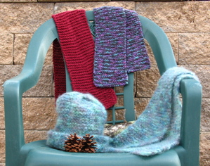 Free Pattern: Garter Stitch Scarves and Origami Hat