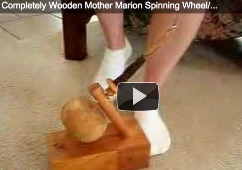 Spinning spindle with your feet.