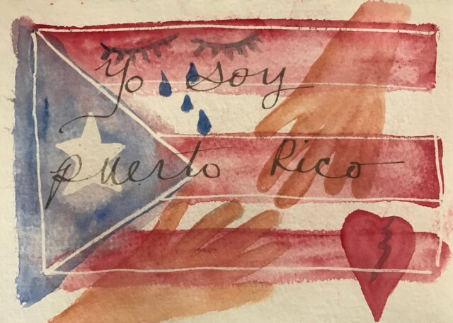 """Puerto Rico flag with a broken heart, tears and the words """"Yo soy Puerto Rico"""""""