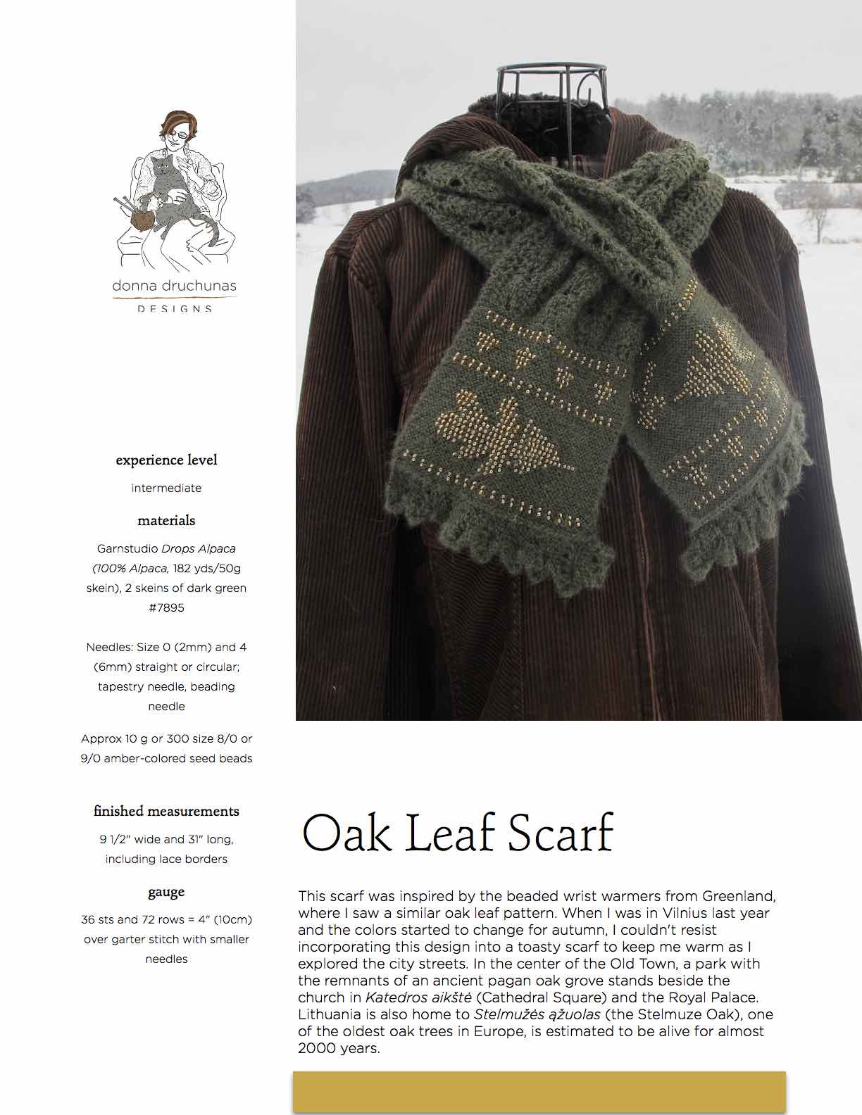 Oak Leaf Scarf Knitting Pattern Sheep To Shawl Llc