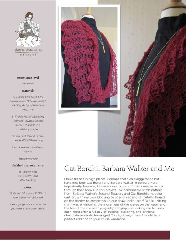 Cat Bordhi, Barbara Walker, and Me Wrap Knitting Pattern 1