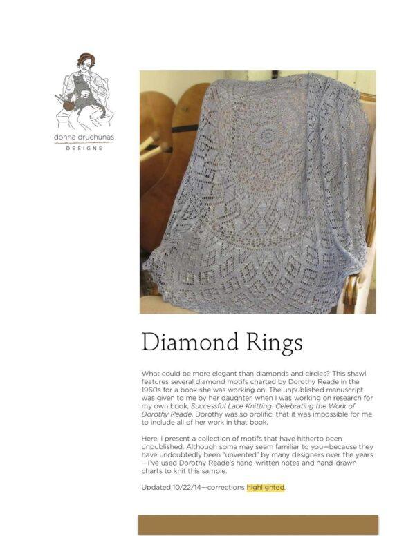 Diamond Rings Pi Shawl Knitting Pattern 1