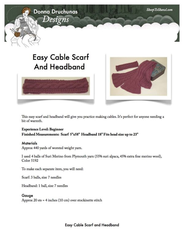 Easy Cable Scarf and Headband Knitting Pattern 1