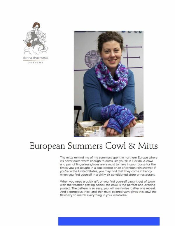 European Summers Cowl & Mitts 2 Patterns 1