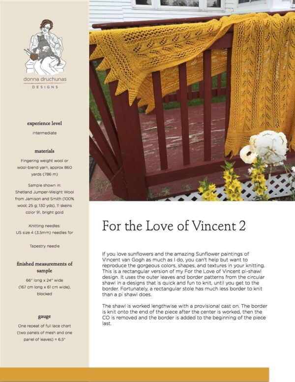 For the Love of Vincent 2 Knitting Pattern 1