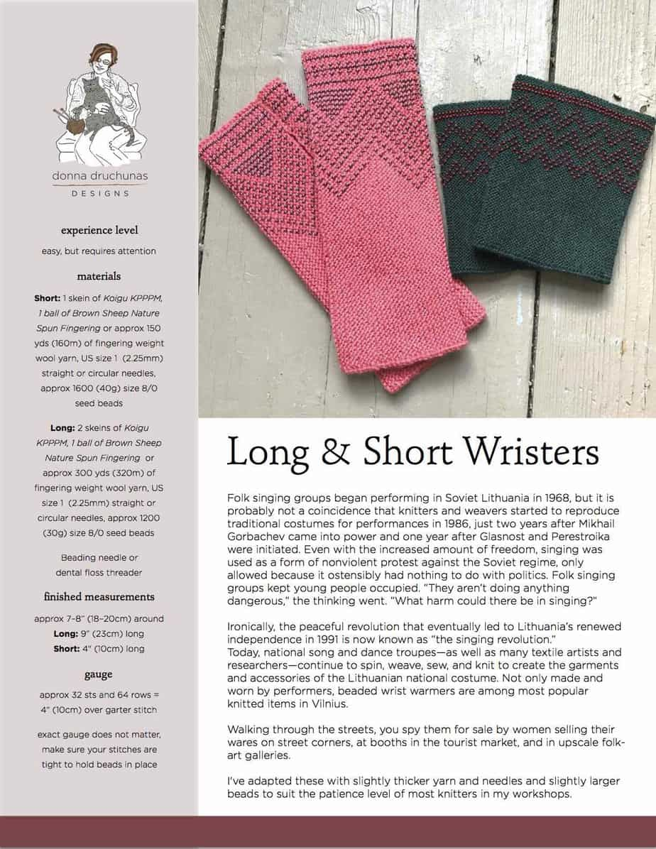 Long and Short Wristers Knitting Pattern | Sheep To Shawl, LLC