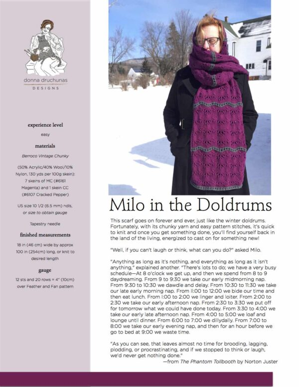 Milo in the Doldrums Scarf Knitting Pattern 1