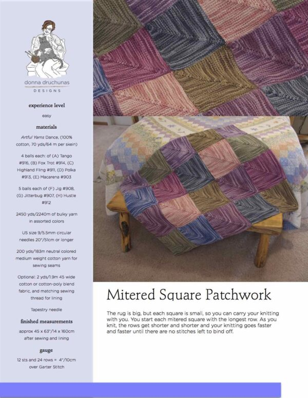 Mitered Square Patchwork Rug Knitting Pattern 1