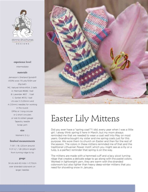 Easter Lily Mittens Pattern 1