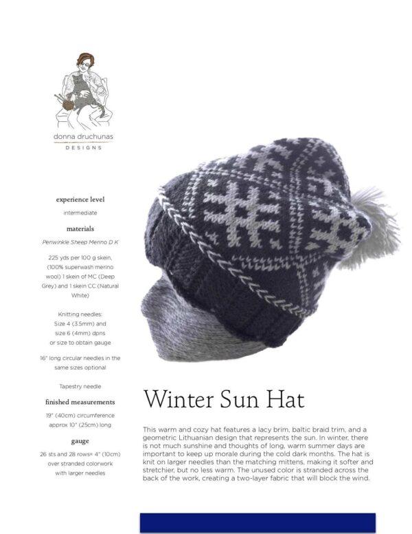 Winter Sun Hat Pattern 1