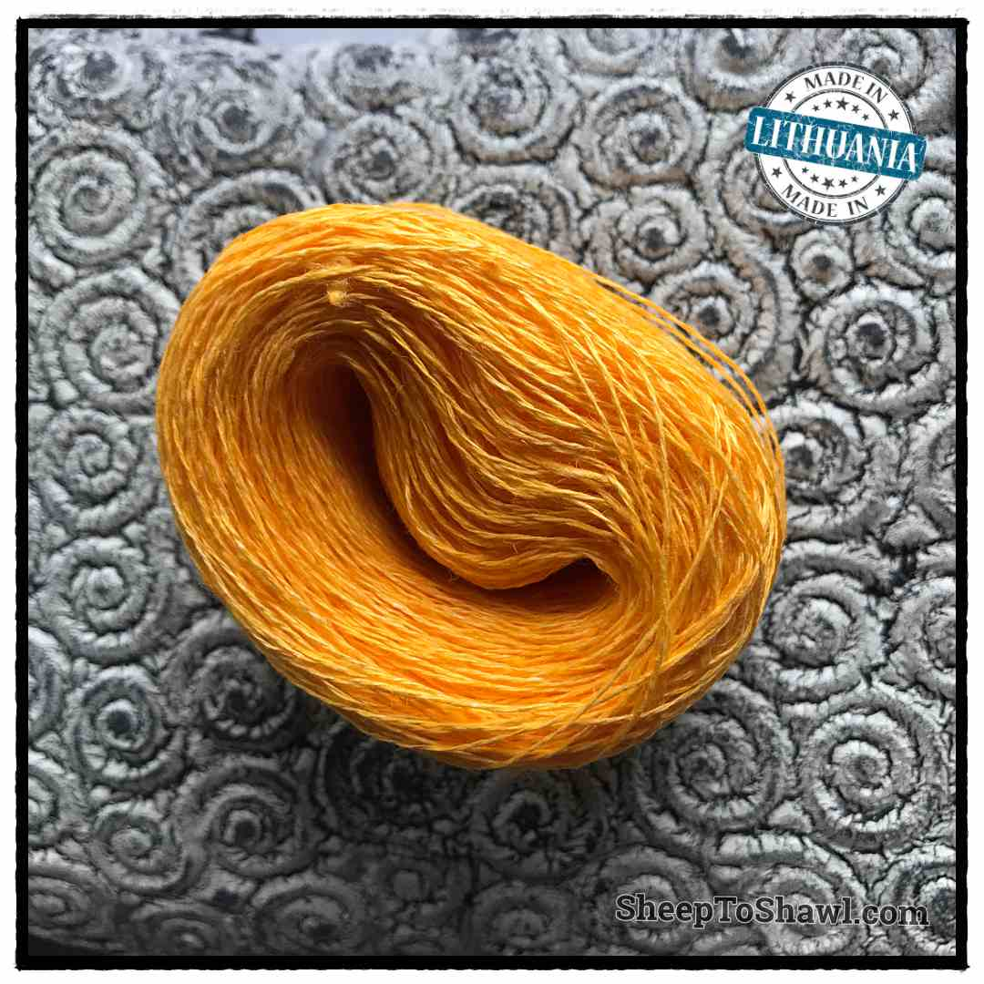 Linen Yarn From Lithuania - 2 ply Bright Yellow 1