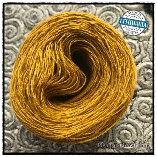 Linen Yarn From Lithuania - 2 ply Gold Mustard 1