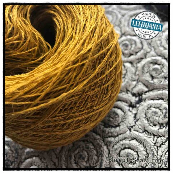 Linen Yarn From Lithuania - 2 ply Gold Mustard 2