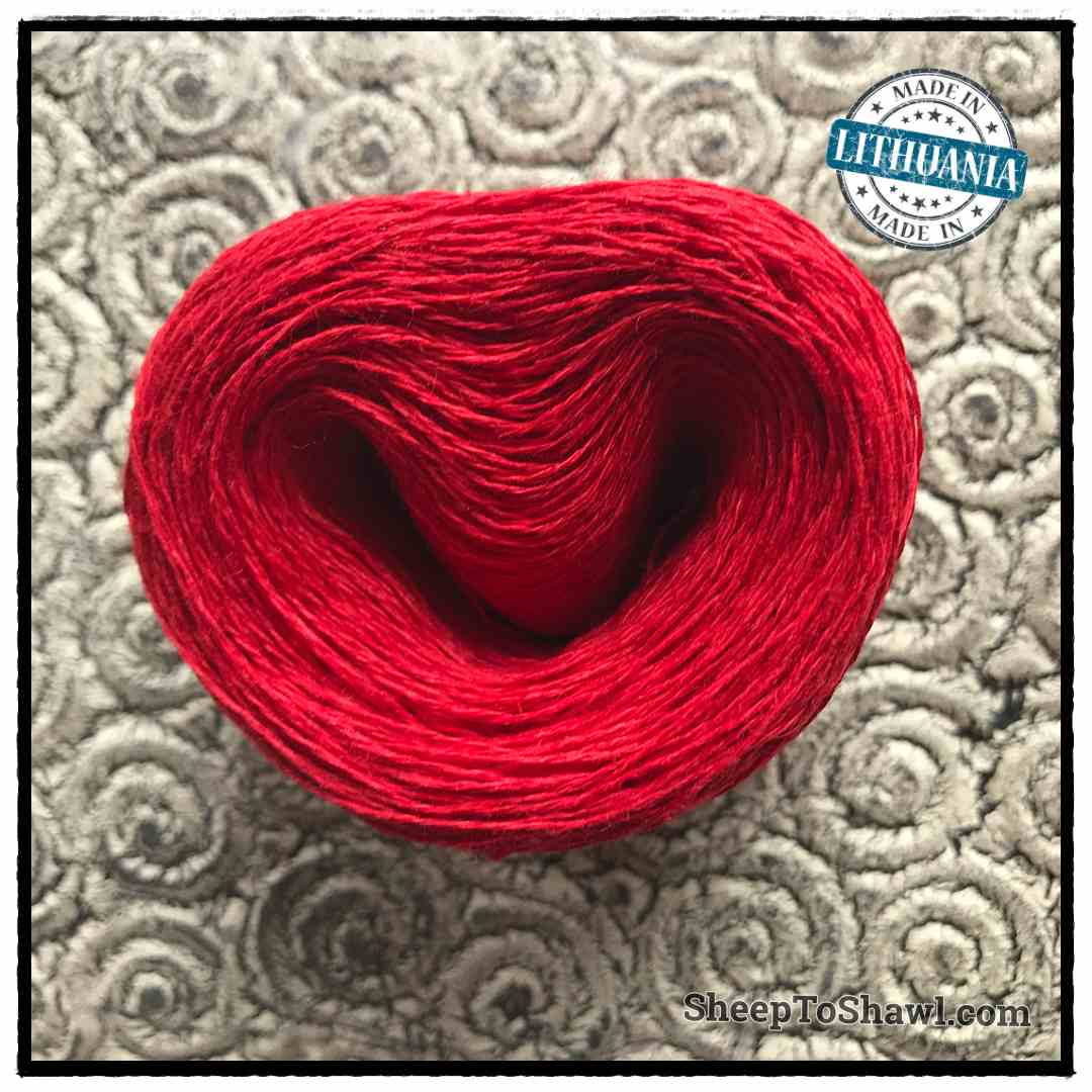 Linen Yarn From Lithuania - 2 ply Red 1