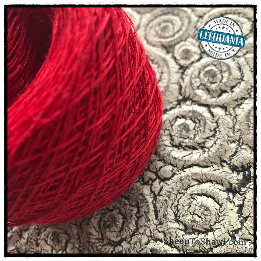 Linen Yarn From Lithuania - 2 ply Red 2