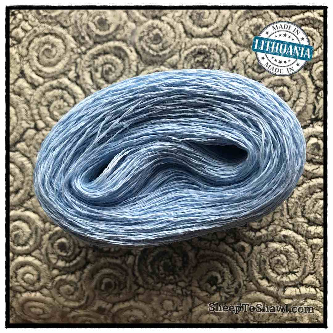 Linen Yarn From Lithuania - 2 ply Pastel Blue 1