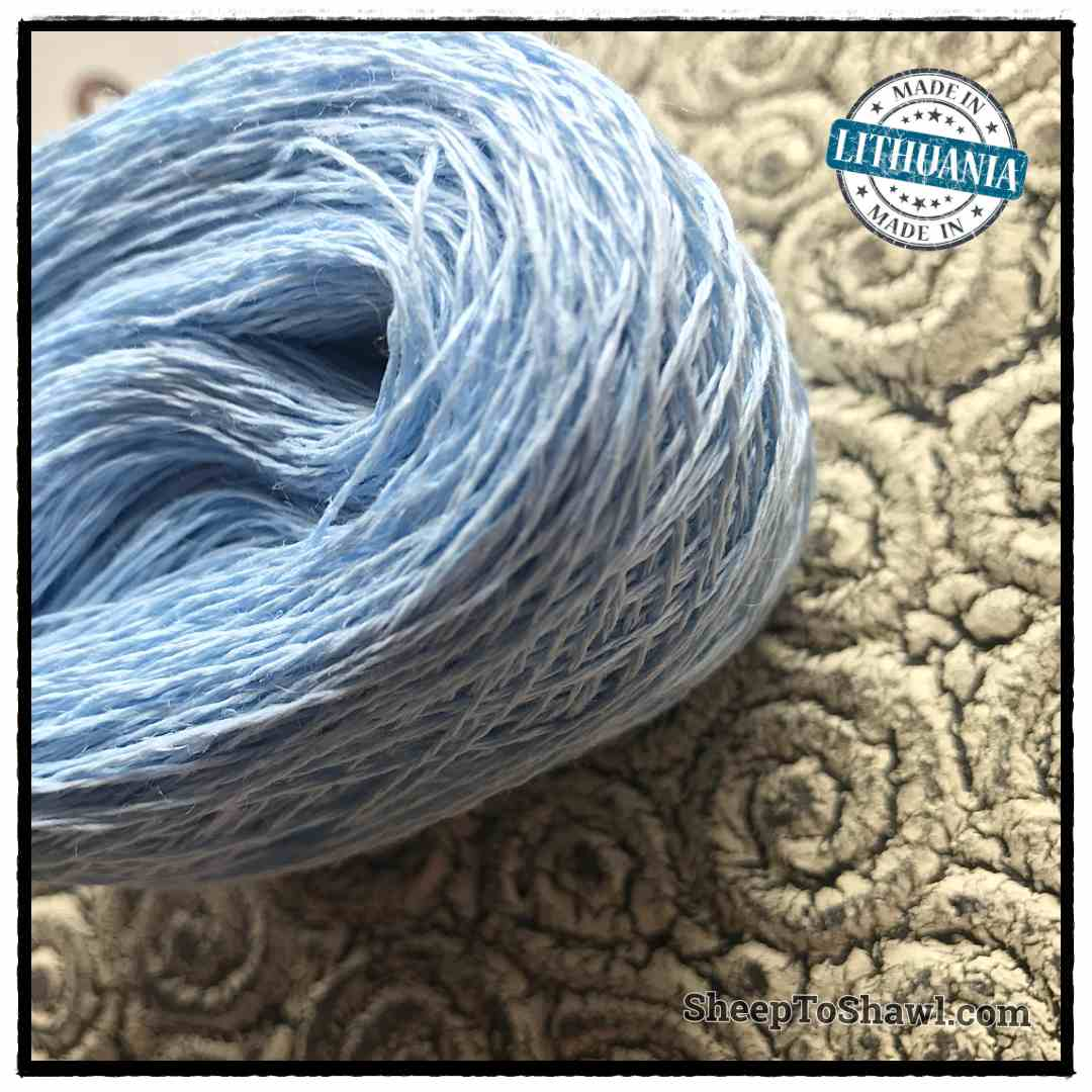 Linen Yarn From Lithuania - 2 ply Pastel Blue 2