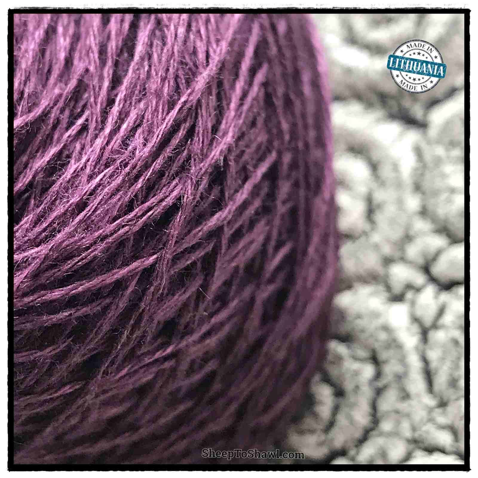 Linen Yarn From Lithuania - 3 ply Plum 2