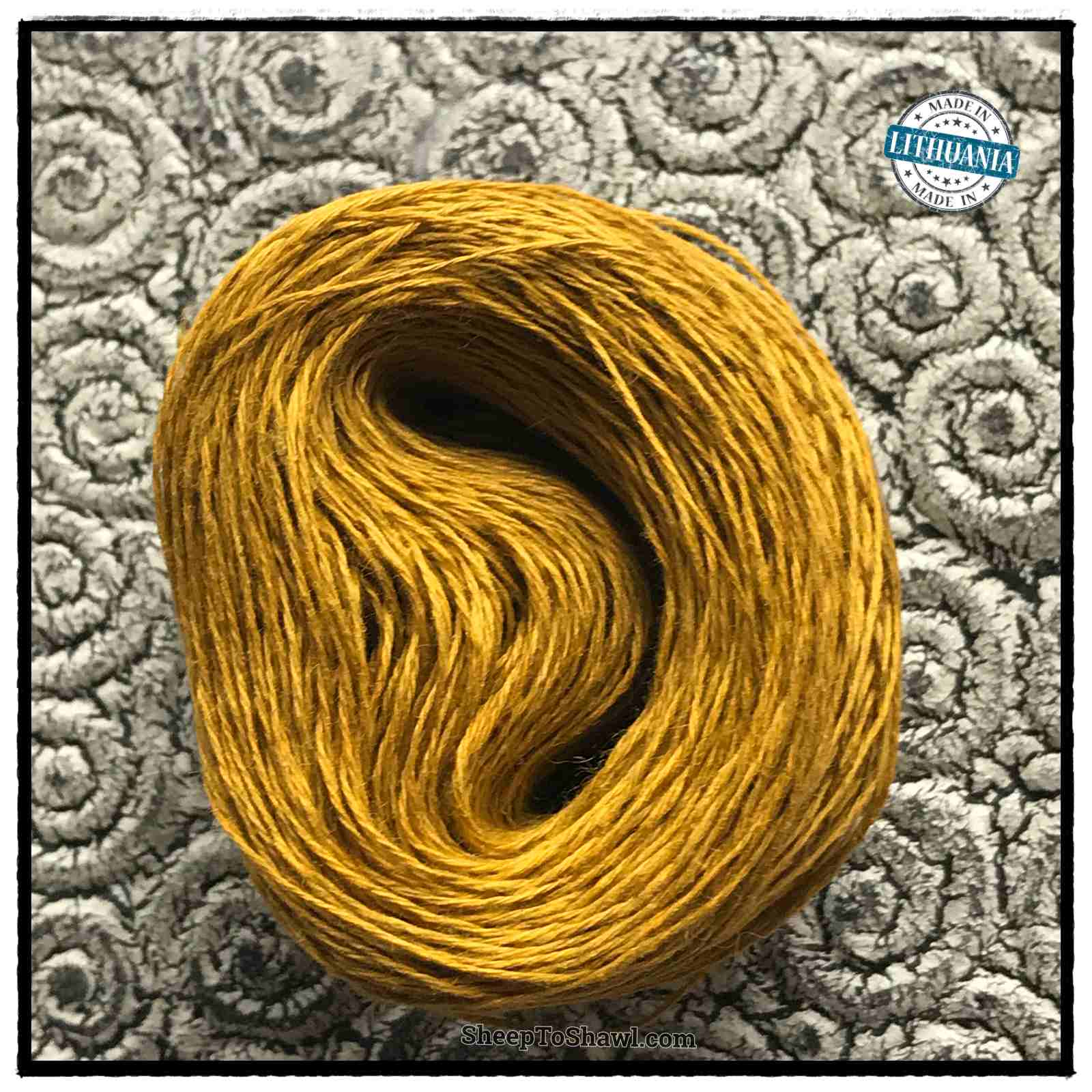 Linen Yarn From Lithuania - 3 ply Mustard Gold 1