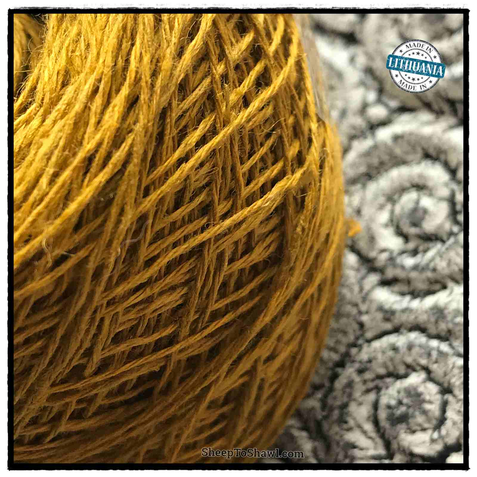 Linen Yarn From Lithuania - 3 ply Mustard Gold 2