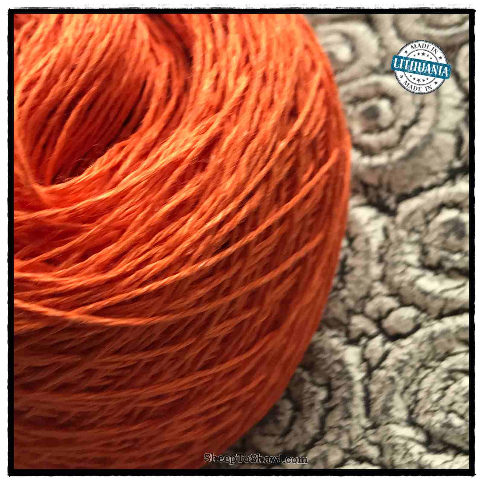 Linen Yarn From Lithuania - 3 ply Orange 1