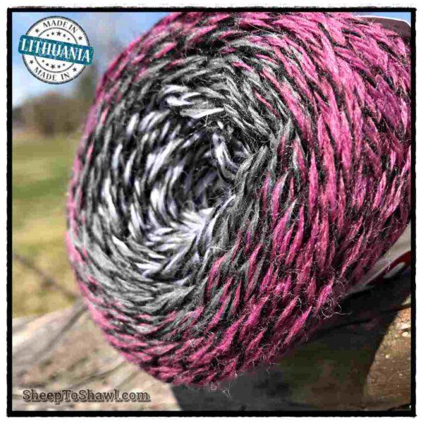 Rainbow Astral Yarn - Raspberry Black Stripe - R16 2