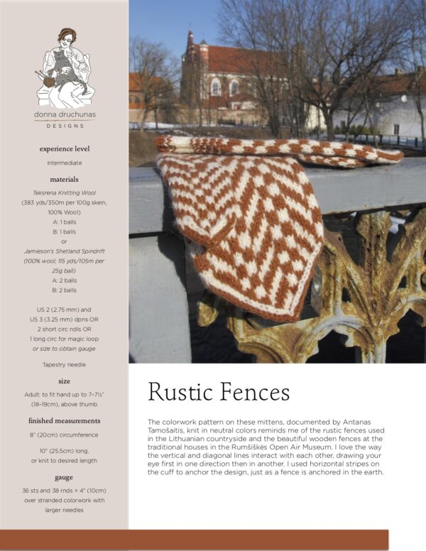 Rustic Fences Mitten Pattern 1