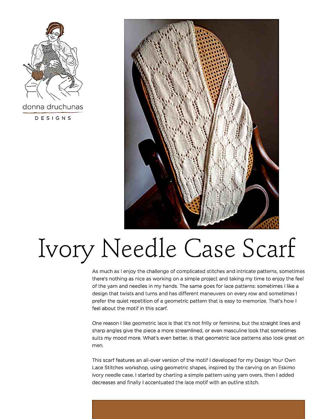 Ivory Needle Case Scarf | Knitting Pattern 1