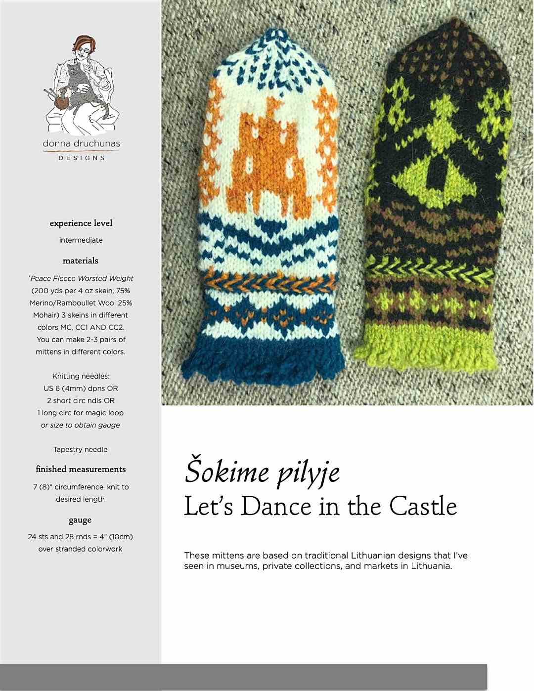 Ladies in the Castle Mittens Pattern 1