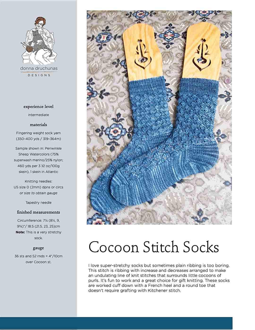 Cocoon Stitch Socks Knitting Pattern