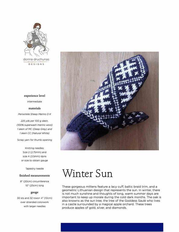 Winter Sun Mitten Pattern 1